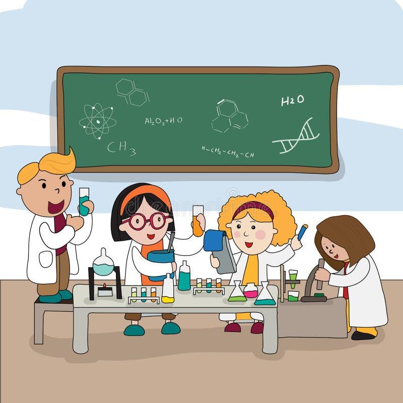 Karikaturkinder sind, arbeitend studierend und im Labor, cre vektor abbildung
