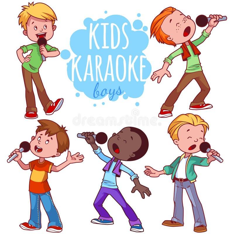Karikaturkinder singen mit einem Mikrofon lizenzfreie abbildung