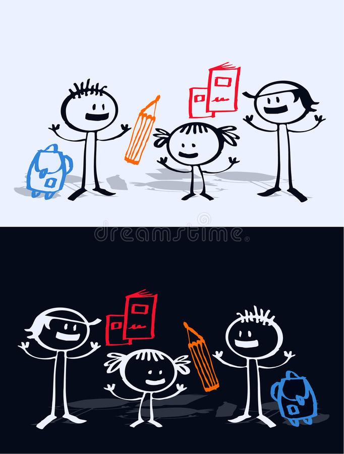 Karikaturkinder u. -schule lizenzfreie abbildung