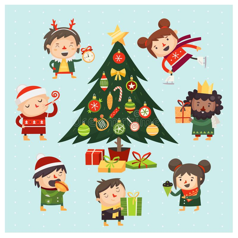 Karikaturkinder und -erwachsene erfasst um den Weihnachtsbaum verziert mit verschiedenen Spielwaren und Geschenken stock abbildung