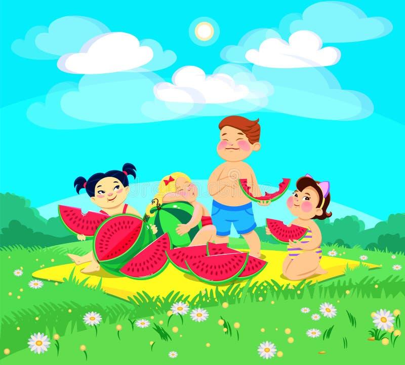 Karikaturkindercharaktere essen Wassermelone an einem Picknick lizenzfreie abbildung