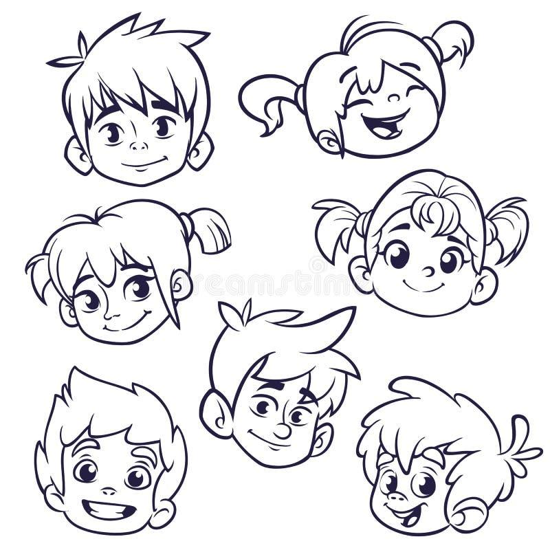 Karikaturkindergesichtsikonen Vektorsatz Kinder oder Jugendlichköpfe umrissen Ausschnitt-Illustration lizenzfreie abbildung