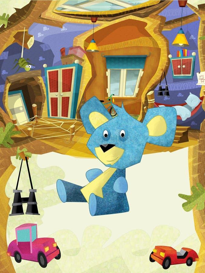 Karikaturkinderraum mit glücklichem nettem Bärnsitzen und -c$lächeln - Haus im Baum lizenzfreie abbildung