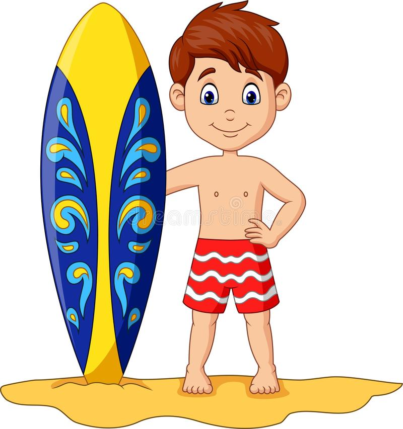 Karikaturkleinkind, das Surfbrett h?lt stock abbildung