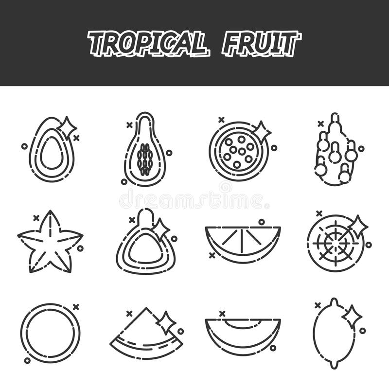Karikaturkonzeptikonen der tropischen Frucht stock abbildung