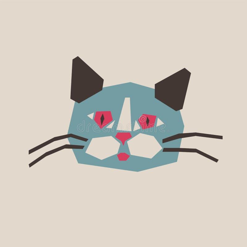 Karikaturkopf der Katze in der Applikationsart Retro- vektorabbildung vektor abbildung