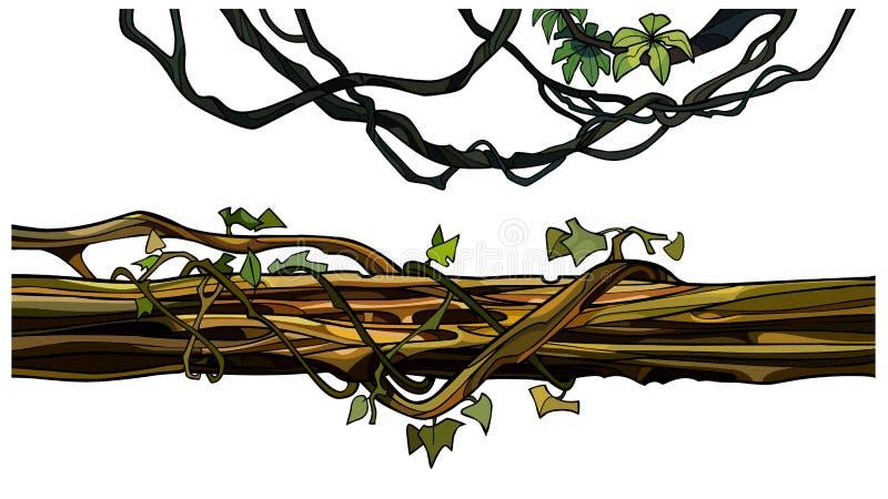 Karikaturkriechpflanzenzweige und ein Klotz entwirrt mit Efeu vektor abbildung