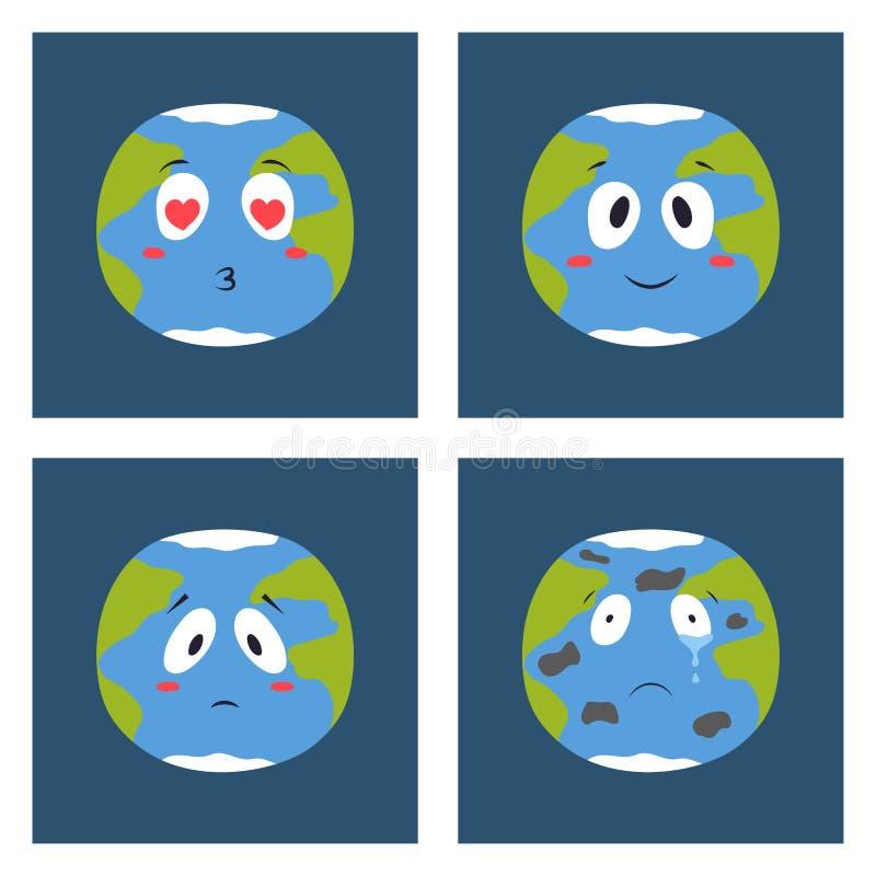 Karikaturkugelgefühl-Planetenikonen lächeln Frohnaturcharakterausdruck-Illustrationsavatara stock abbildung