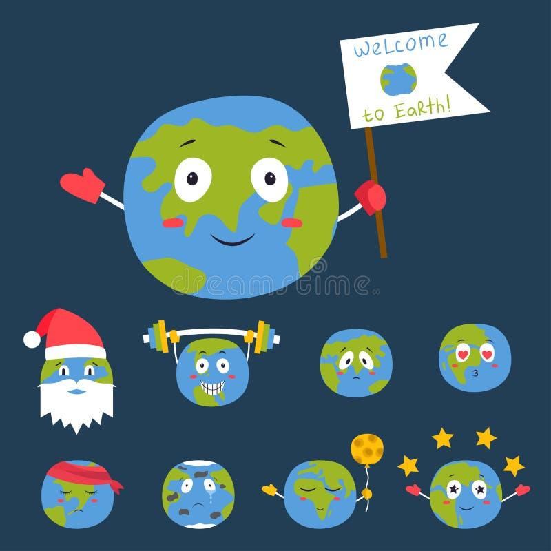 Karikaturkugelgefühlplanetenikonenlächelnfrohnatur-Charakterausdruck-Vektorillustrationsavatara vektor abbildung