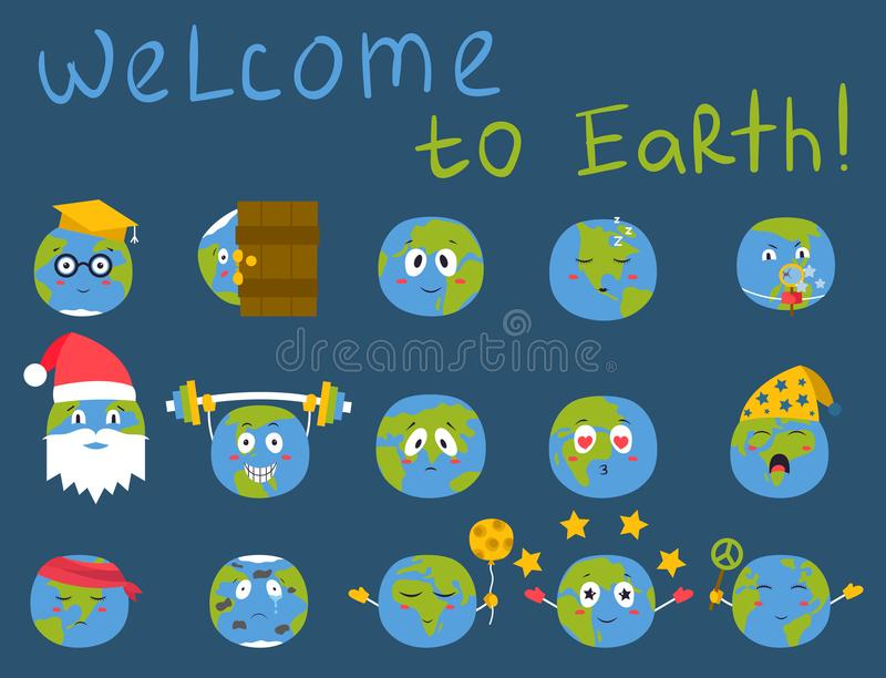 Karikaturkugelgefühlplanetenikonenlächelnfrohnatur-Charakterausdruck-Vektorillustrationsavatara stock abbildung