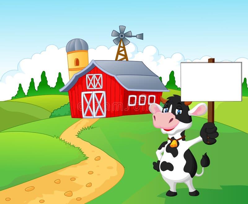 Karikaturkuh, die leeres Zeichen mit Bauernhofhintergrund hält vektor abbildung