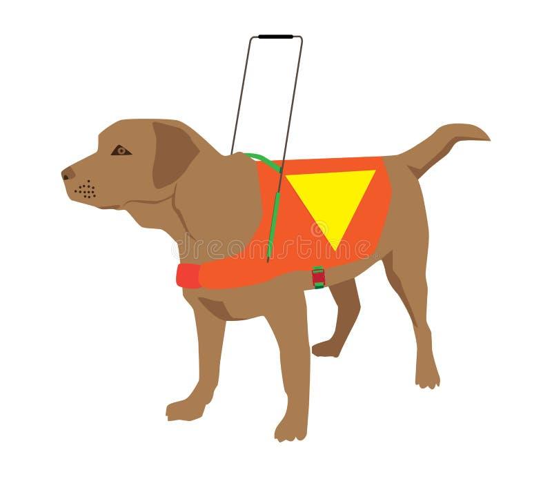 Karikaturlabrador retriever-Rettung Leibwächterhundgeschwader Auch im corel abgehobenen Betrag Blindenhund hilft für Blinder in d lizenzfreie abbildung