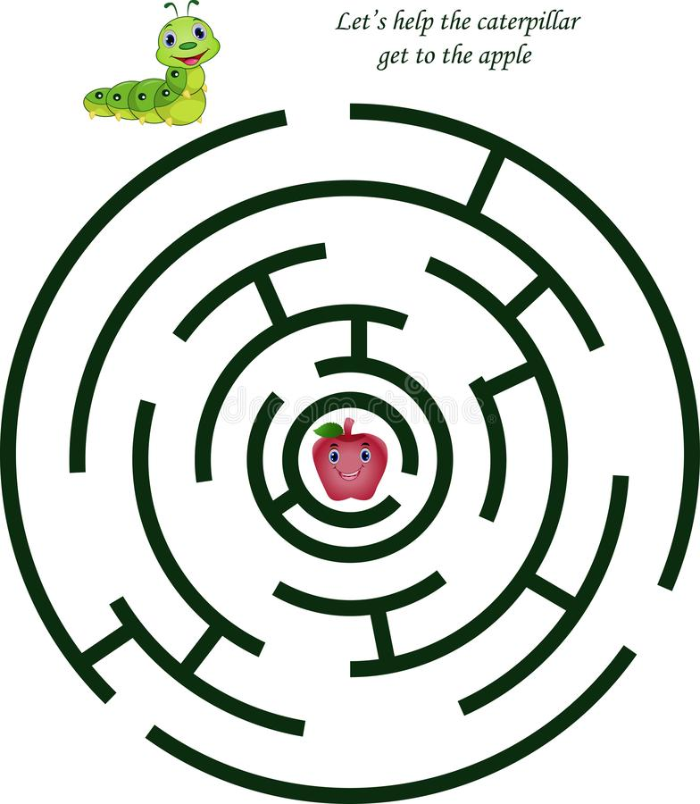 Karikaturlabyrinth für Kinder mit nettem Gleiskettenfahrzeug und Apfel stock abbildung