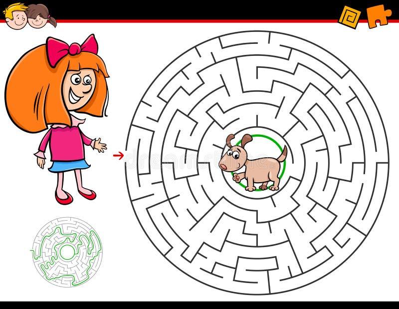 Karikaturlabyrinthspiel mit Mädchen und Welpen stock abbildung