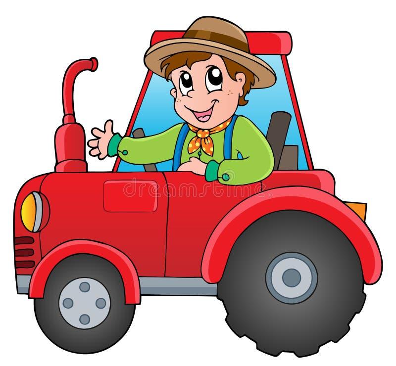 Karikaturlandwirt auf Traktor lizenzfreie abbildung