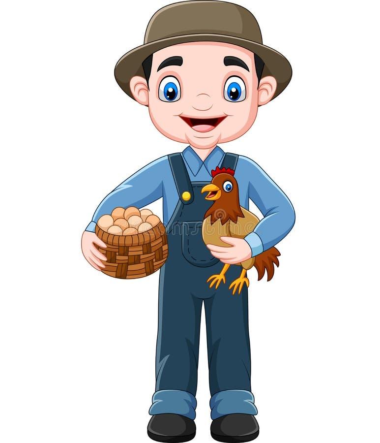 Karikaturlandwirt-Holdinghuhn und ein Korb von Eiern lizenzfreie abbildung