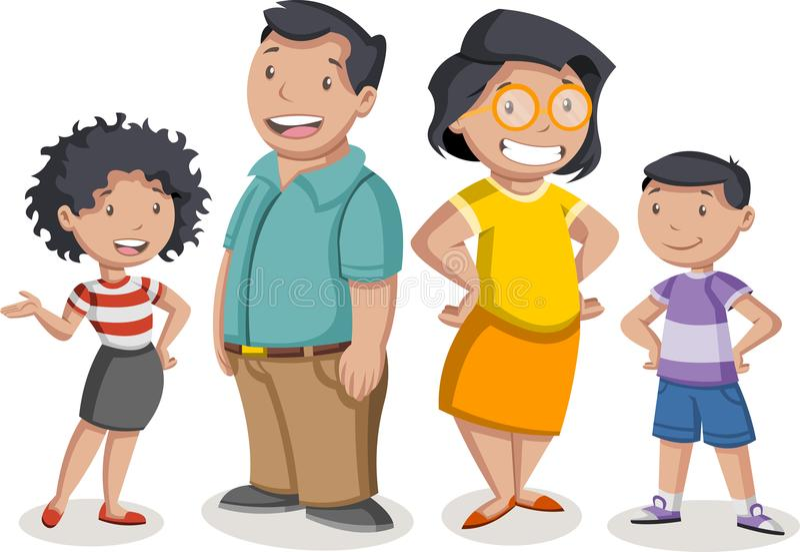Karikaturlateinfamilie lizenzfreie abbildung
