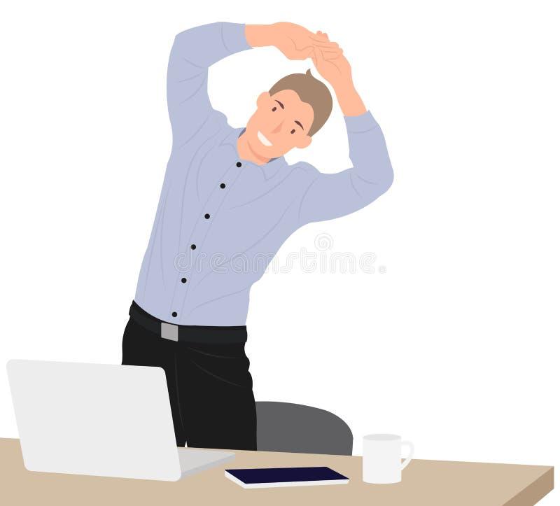 Karikaturleute-Charakterentwurfsgeschäftsmann, der während des Bruches durch den Arbeitsschreibtisch im Büro trainiert stock abbildung