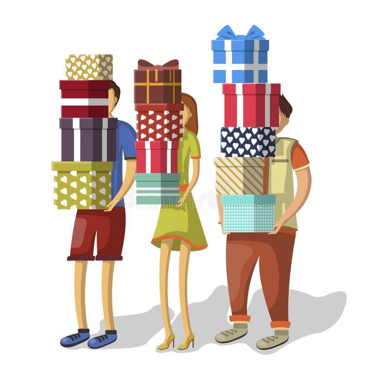 Karikaturleute mit Stapeln Geschenken lizenzfreie abbildung