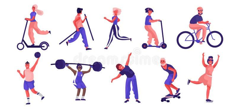 Karikaturleute-Sporttätigkeiten Laufendes Reiten der modischen flachen Charaktere, das Training spielt und tut lizenzfreie abbildung