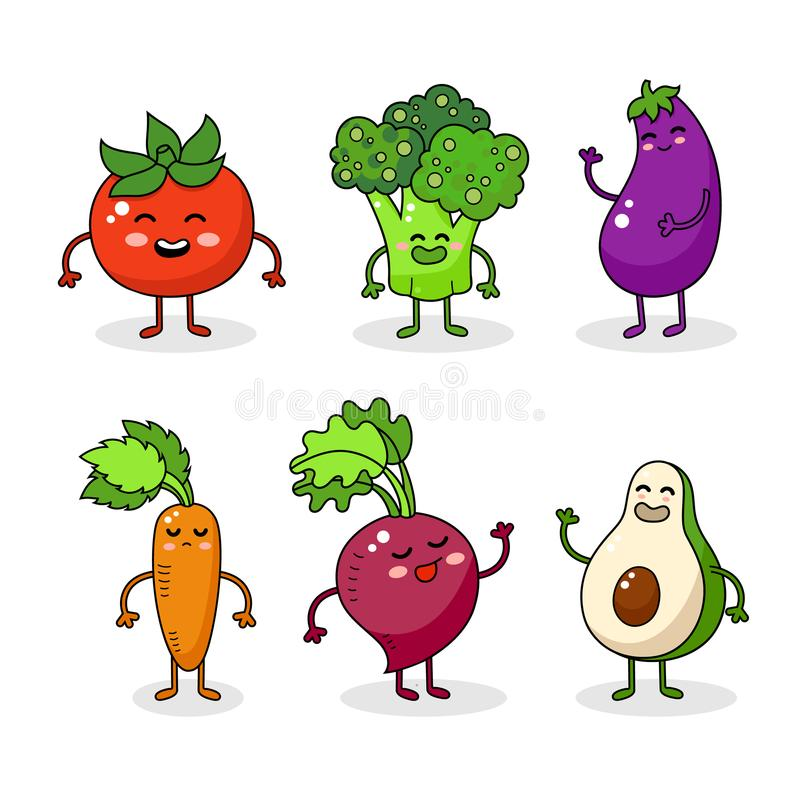 Karikaturlustige Gemüsecharaktere Glücklicher Lebensmittelaufkleber, große Sammlung Karotte, Tomate, Brokkoli vektor abbildung