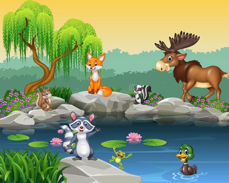 Karikaturlustige Tiersammlung auf dem schönen Naturhintergrund lizenzfreie abbildung