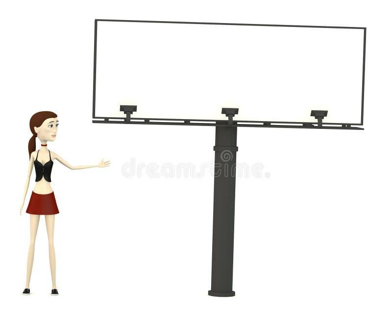 Karikaturmädchen mit Anschlagtafel stock abbildung