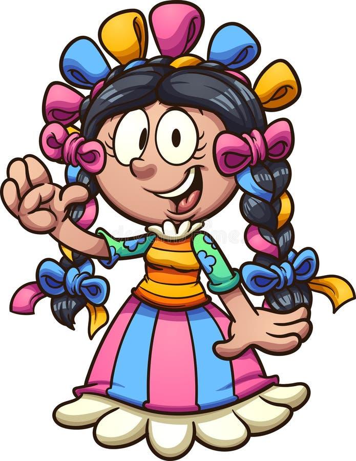 Karikaturmädchen mit mexikanischem Kleid lizenzfreie abbildung