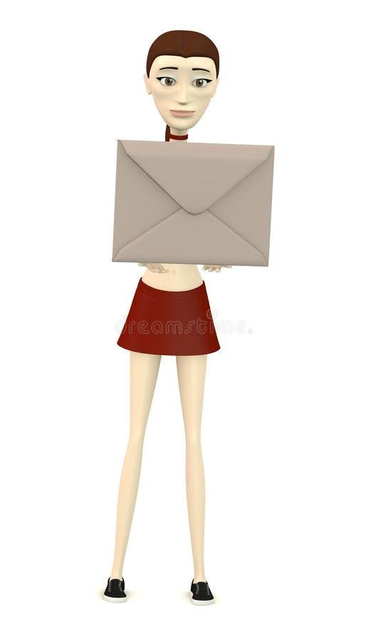 Karikaturmädchen mit Umschlag stock abbildung