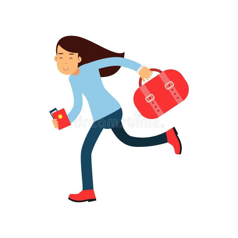Karikaturmädchencharakter, der schnell zum Flughafen mit Gepäck, Pass und Flugschein in den Händen läuft Tourist spät zum Flug stock abbildung