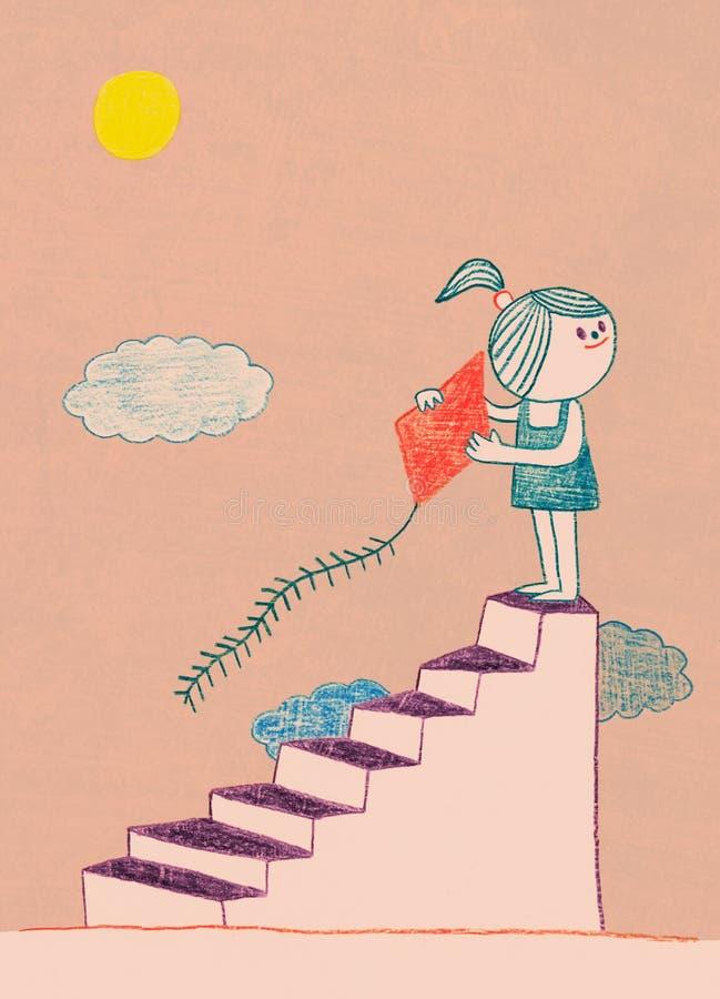 Karikaturmädchenkind nach einer Treppe mit Drachen stock abbildung