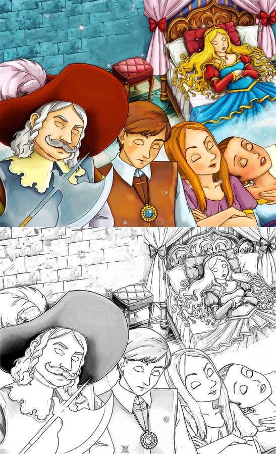 Karikaturmärchenszene - Farbtonseite stock abbildung
