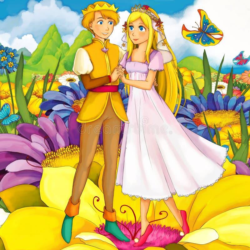 Karikaturmärchenszene - Illustration für die Kinder stock abbildung