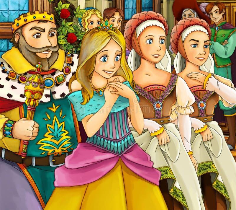Karikaturmärchenszene - Königkönigin und -bedienstete stock abbildung