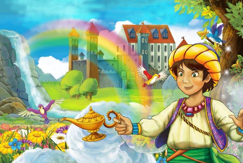 Karikaturmärchenszene mit hübschem Prinzen auf dem Gebiet voll von Blumen nahe buntem Regenbogen des kleinen Wasserfalls und groß lizenzfreie abbildung