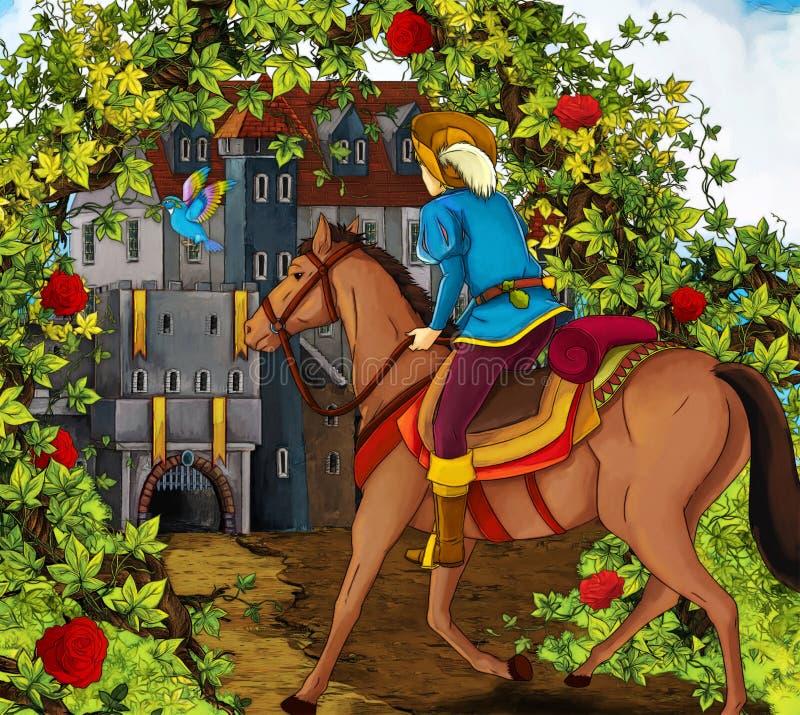 Karikaturmärchenszene - Prinz auf Pferd stock abbildung