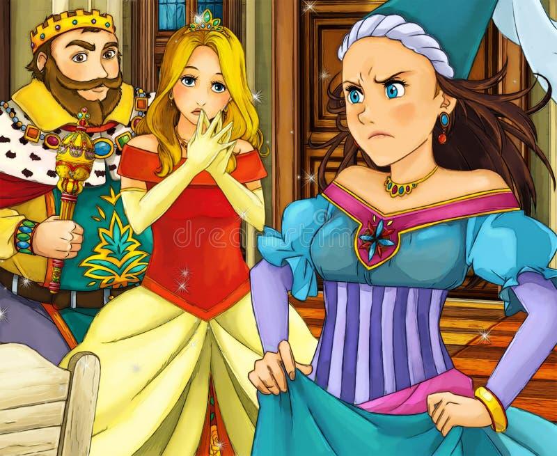 Karikaturmärchenszene - Prinz und Prinzessin stock abbildung
