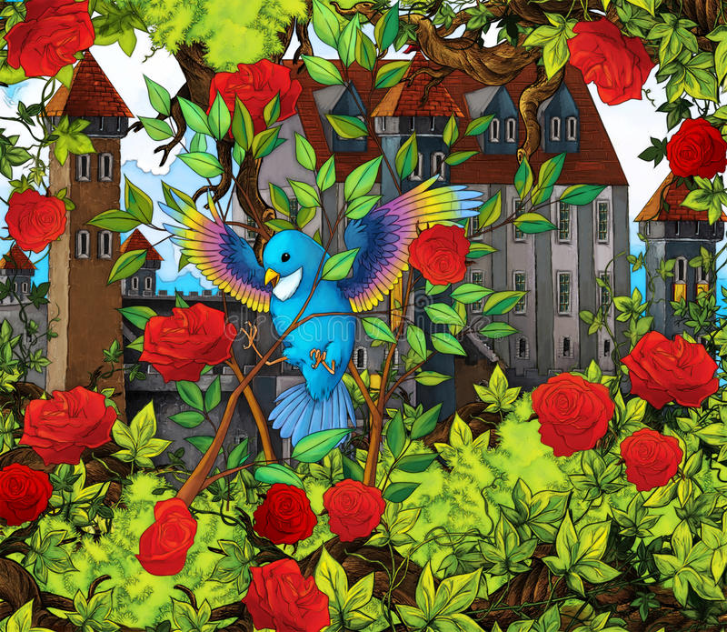 Karikaturmärchenszene - Vogel in den Rosen vektor abbildung