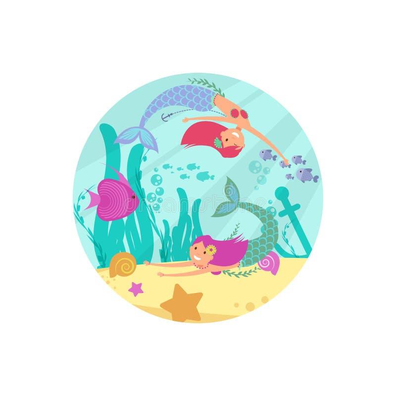 Karikaturmärchenunterwasservektorfahne mit Meerjungfrauen und Fischen lizenzfreie abbildung