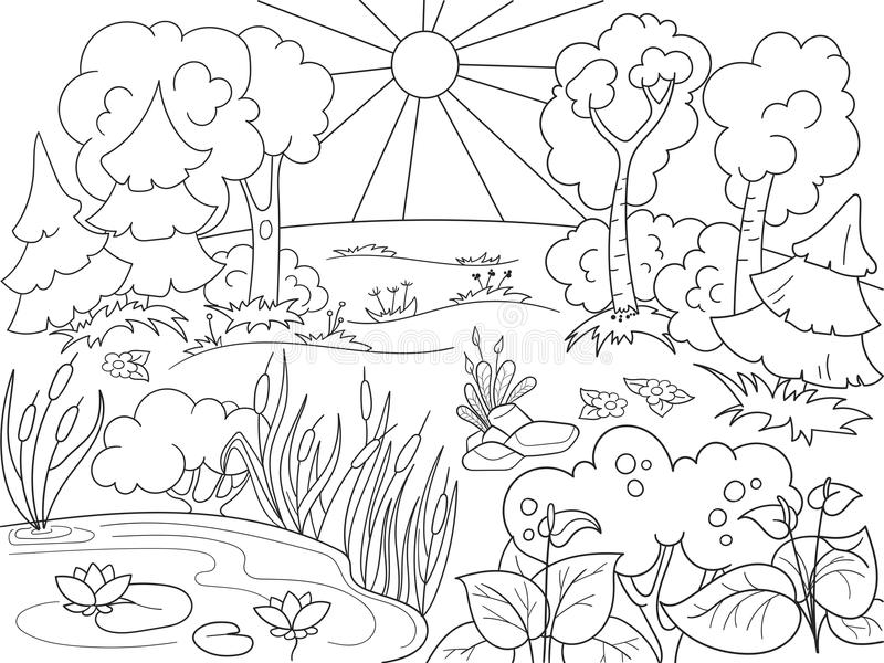 Karikaturmalbuch Schwarzweiss-Natur Lichtung im Wald mit Anlagen lizenzfreie abbildung