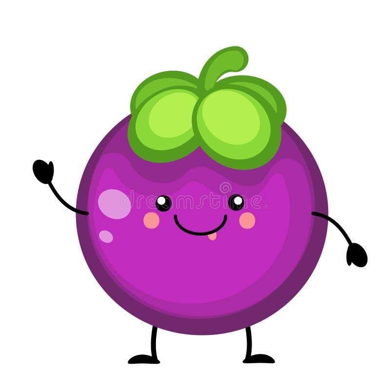 Karikaturmangostanfruchtfrucht-Vektorillustration lokalisiert auf Weiß lizenzfreie abbildung