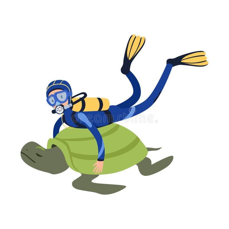 Karikaturmann-Charakterschwimmen mit riesiger exotischer Schildkröte im tropischen Wasser Taucher im Wetsuit, Maske, Flipper und lizenzfreie abbildung
