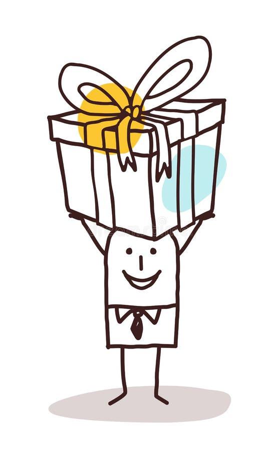 Karikaturmann, der ein großes Geschenkpaket trägt stock abbildung