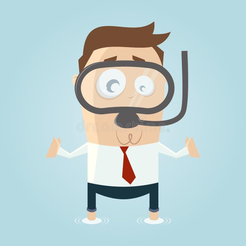 Karikaturmann in der Flut mit Taucherbrille vektor abbildung