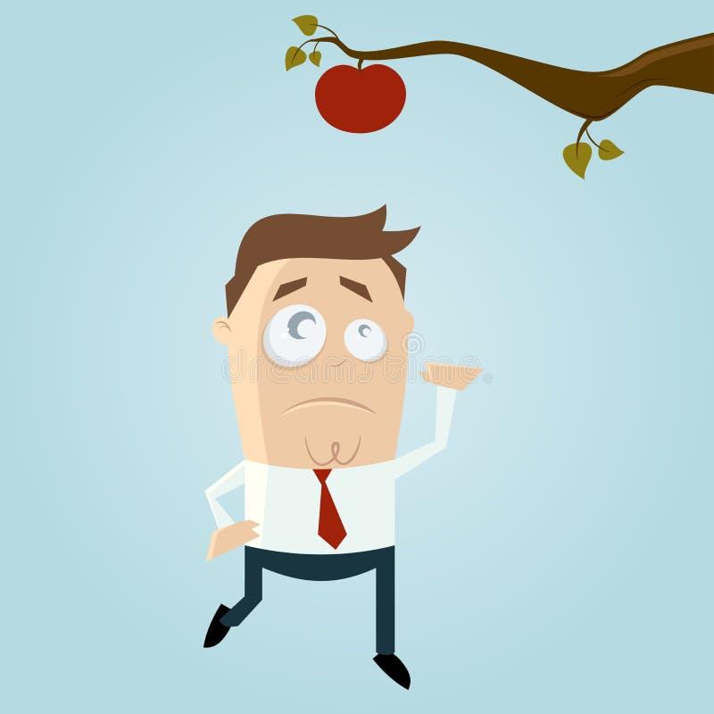 Karikaturmann, der heraus für einen Apfel erreicht lizenzfreie abbildung