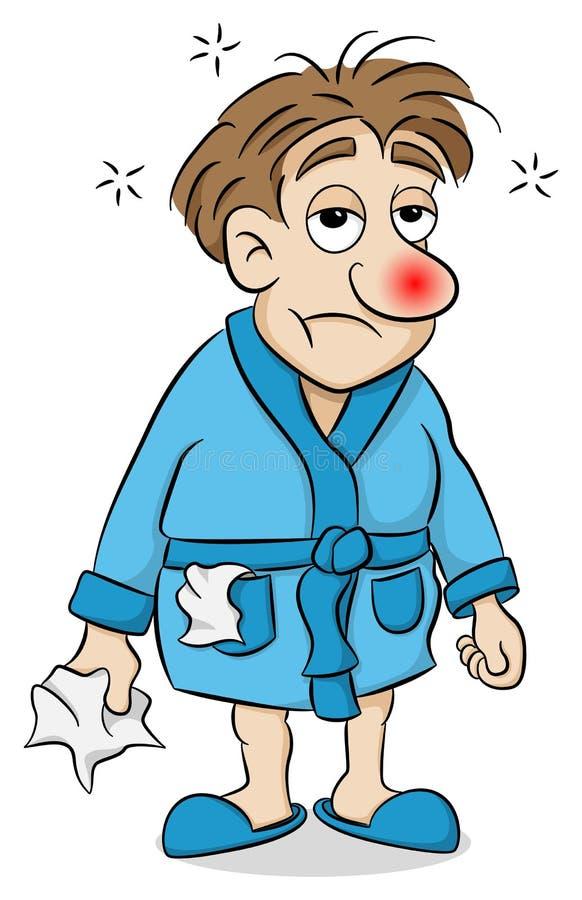Karikaturmann, der krank ist lizenzfreie abbildung
