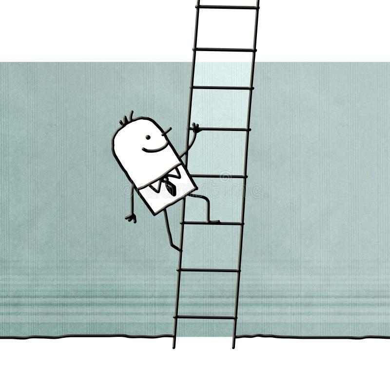 Karikaturmann, der oben auf einer Leiter klettert lizenzfreie abbildung