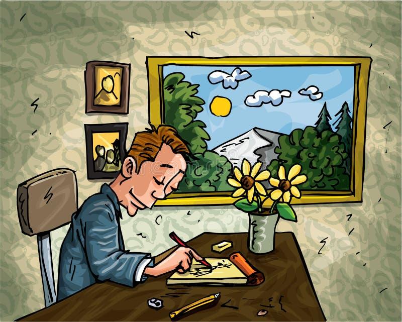 Karikaturmann, der an seinem Schreibtisch kritzelt stock abbildung