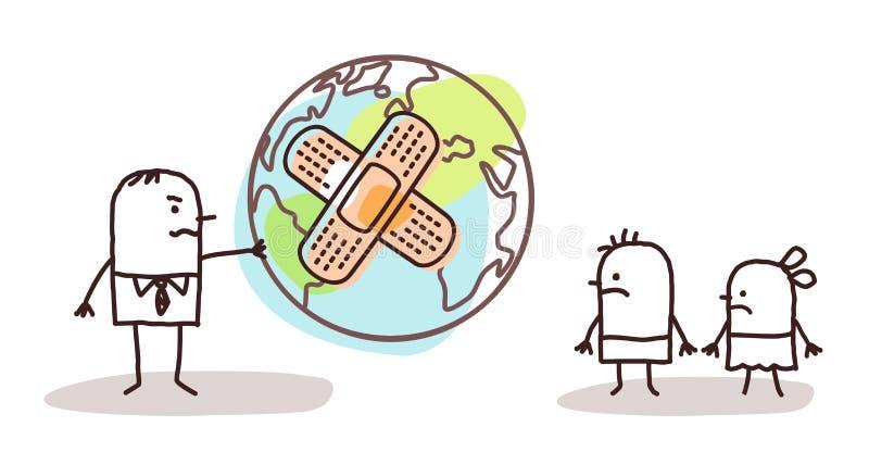 Karikaturmann, der seinen Kindern einen kranken Planeten gibt vektor abbildung