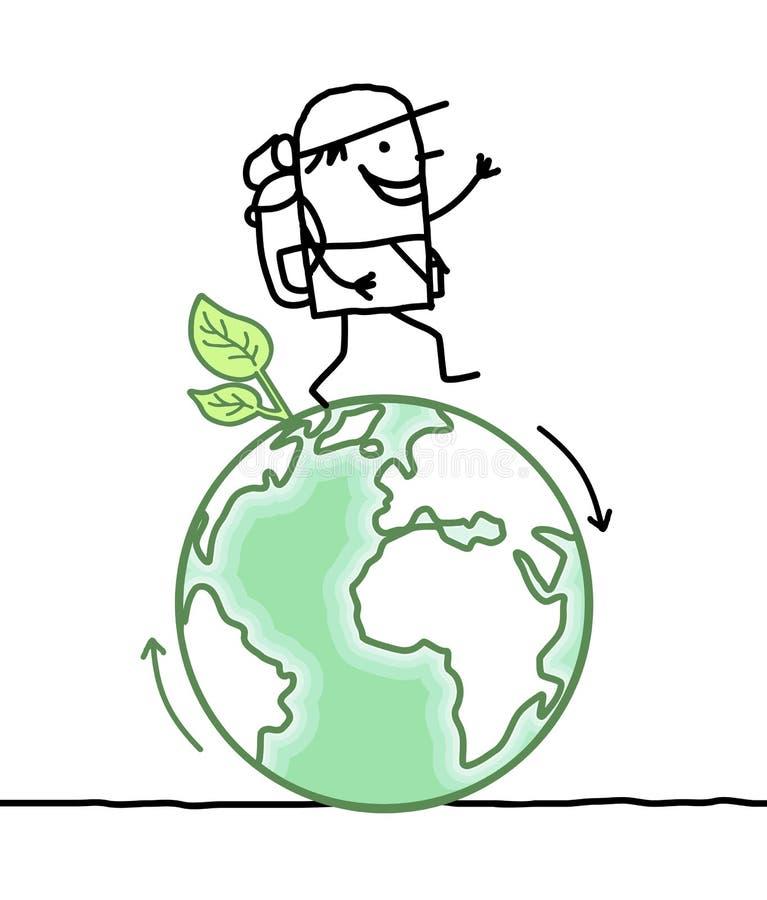 Karikaturmann, der um die Erde geht vektor abbildung